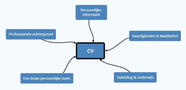 mindmap met de opbouw van het CV.